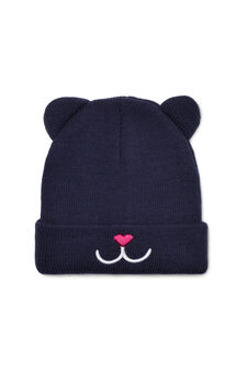 Embroidered beanie cap, Navy Blue, hi-res