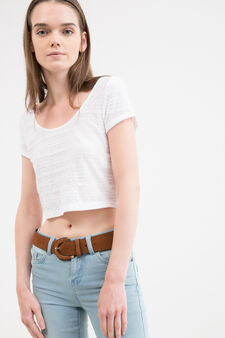 Crop stretch T-shirt with lace, Milky White, hi-res