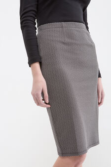 Stretch patterned midi skirt, Black, hi-res