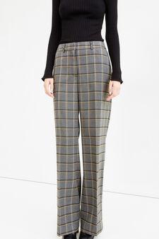 Pantaloni viscosa stretch fantasia quadri, Nero/Grigio, hi-res