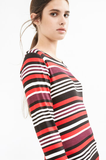 Striped T-shirt in stretch viscose, Black/Red, hi-res