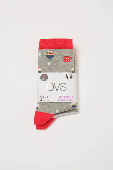 Set due paia di calze corte fantasia, Grigio, hi-res