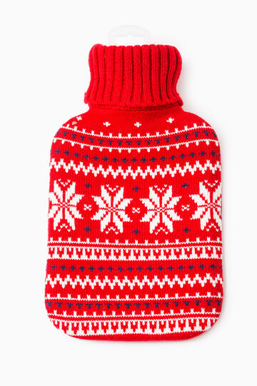 Hot water bottle with embroidery, White/Red, hi-res
