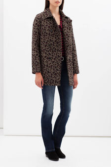 Double-breasted printed coat, Brown, hi-res