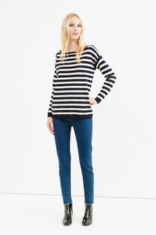 Striped pullover with buttons on back, Navy Blue, hi-res