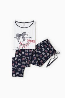Bow pattern cotton pyjamas, White/Blue, hi-res