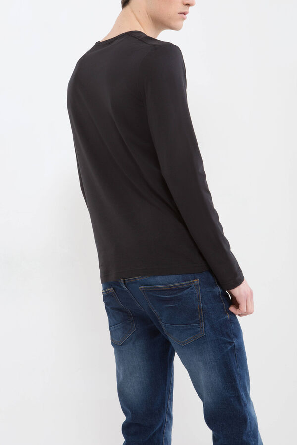 Stretch cotton T-shirt with V neck | OVS