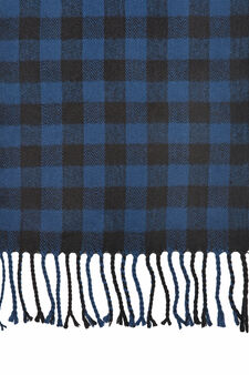 Checked scarf with fringe, Royal Blue, hi-res