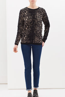 Stretch cotton blend sweatshirt with animal print, Multicolour, hi-res