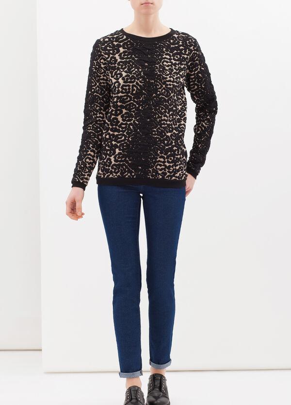 Stretch cotton blend sweatshirt with animal print | OVS