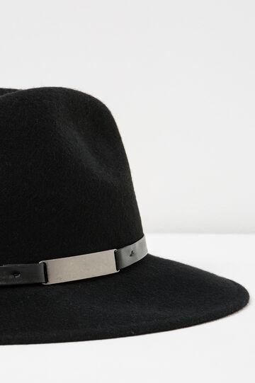 Cappello falda larga con laccio, Nero, hi-res