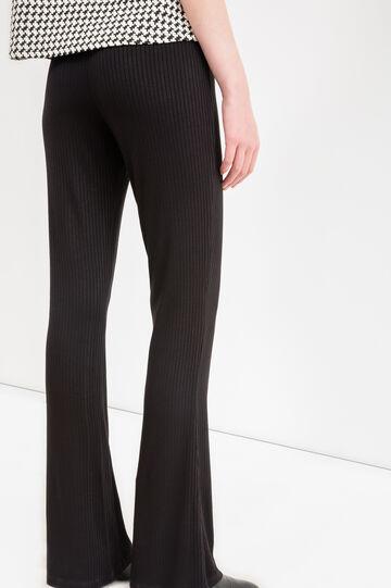 Pantaloni a zampa stretch tinta unita, Nero, hi-res