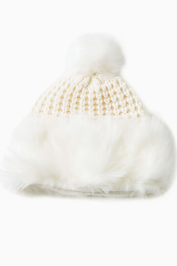 Knitted beanie cap with fur, Cream White, hi-res