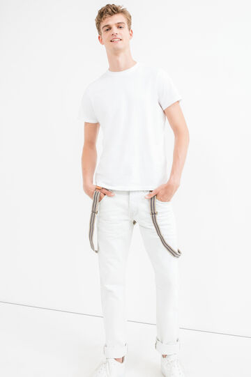 Jeans tinta unita con bretelle a righe, Bianco, hi-res