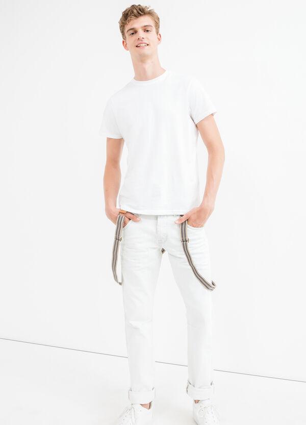 Jeans tinta unita con bretelle a righe | OVS