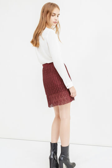 Solid colour tulle skirt with high waist, Claret Red, hi-res