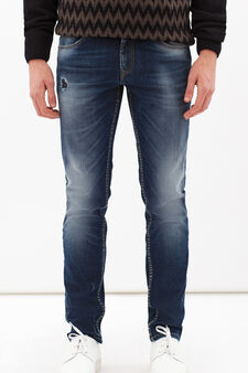 Washed and faded effect stretch jeans, Medium Wash, hi-res