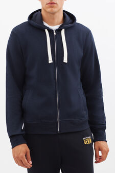 Sweatshirt with contrasting drawstring, Blue, hi-res