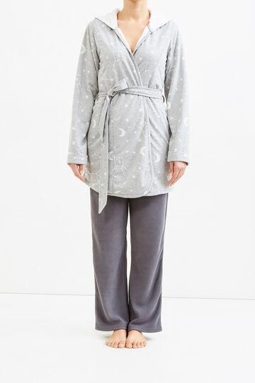 Constellation pattern dressing gown, Grey Marl, hi-res