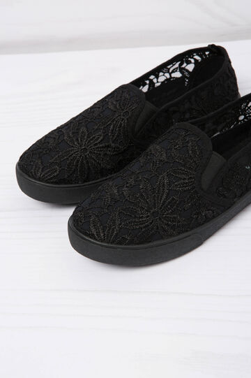 Solid colour slip-ons with lace, Black, hi-res