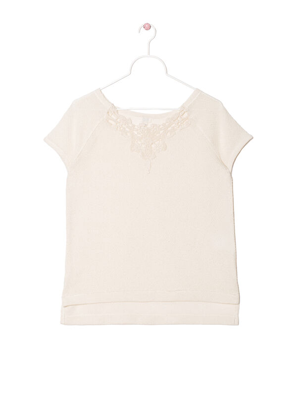 T-shirt with lace insert on neck | OVS