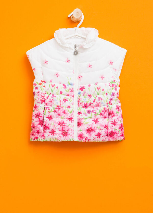 Floral patterned gilet with flounces | OVS