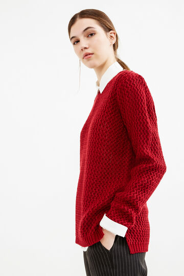 Chunky knit pullover, Red, hi-res