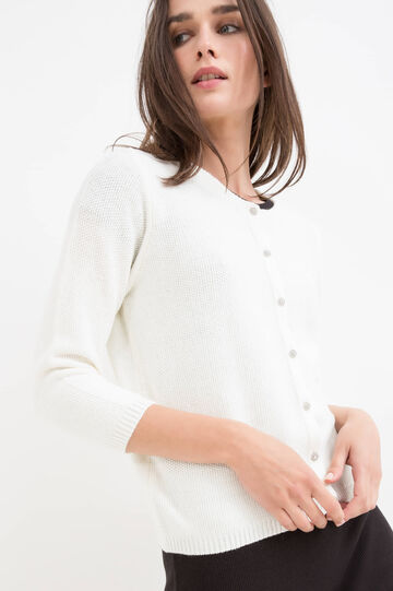 Solid colour cotton blend cardigan, White, hi-res