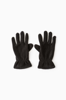Solid colour fleece gloves, Black, hi-res