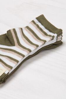 Three-pack striped socks, Green, hi-res