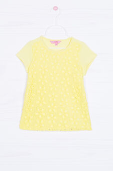Solid colour openwork T-shirt, Yellow, hi-res