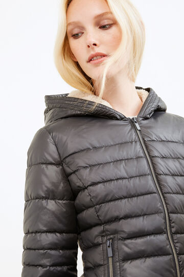 Down jacket with hood and fur lining, Dark Grey, hi-res