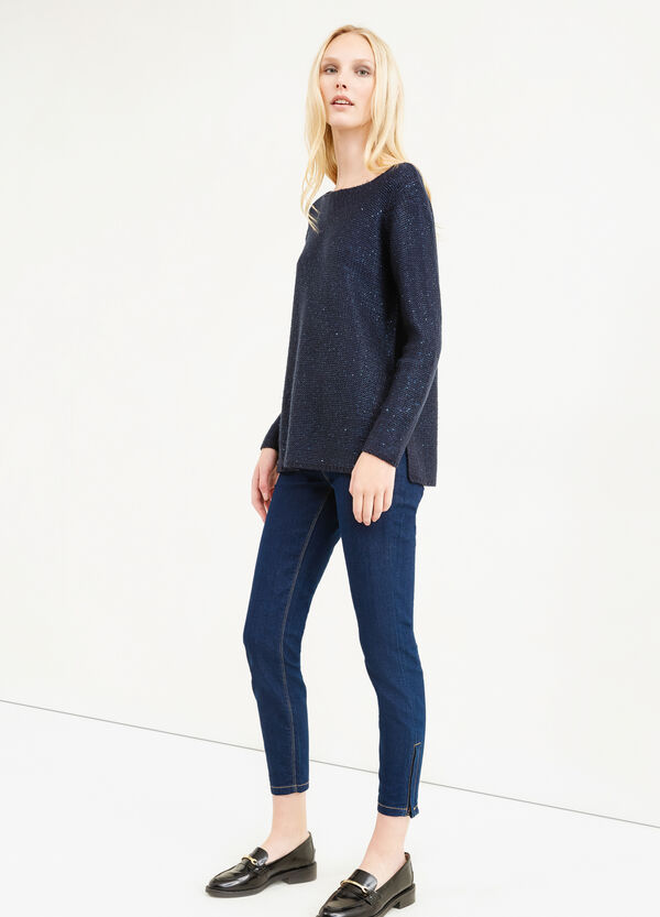 Solid colour pullover with sequins   OVS