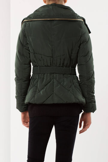 High neck puffa jacket, Green, hi-res
