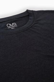 Three-pack solid colour cotton underwear T-shirts, Black, hi-res