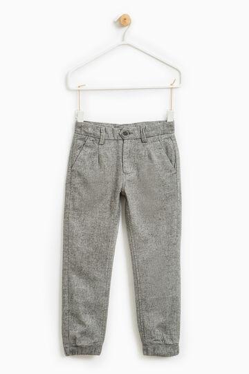 Pantaloni puro cotone micro fantasia, Grigio scuro, hi-res