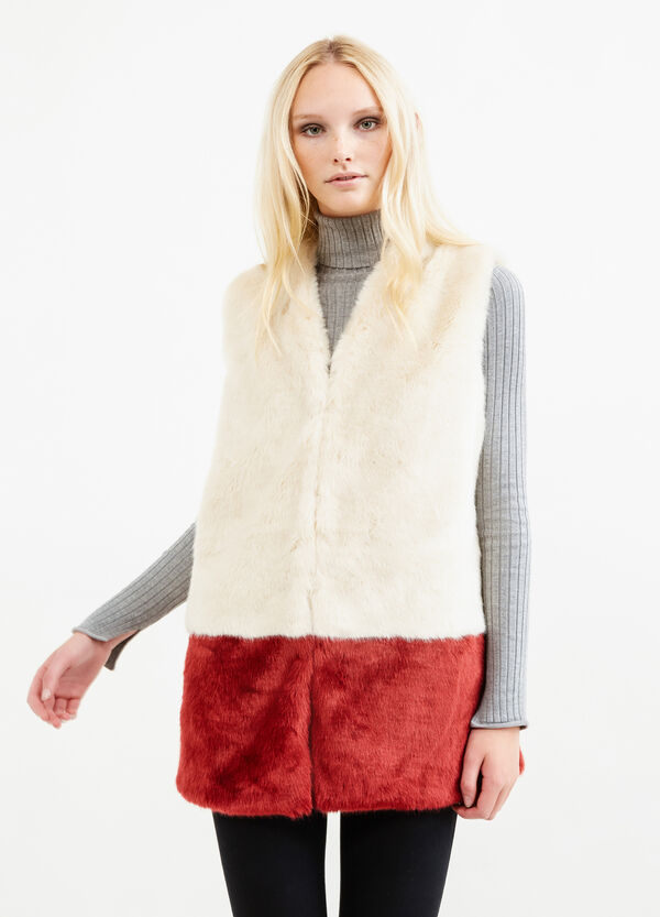 Faux fur gilet with hooks | OVS