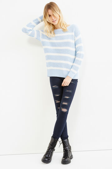 Striped pullover with boat-neck, Sky Blue, hi-res