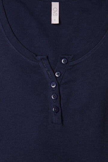 Pyjama top with button neck, Navy Blue, hi-res