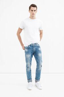 Stretch jeans with turn-ups, Denim, hi-res