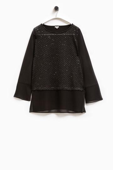 Smart Basic stretch T-shirt with sequins, Black, hi-res