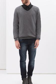 V-neck pullover, Grey, hi-res
