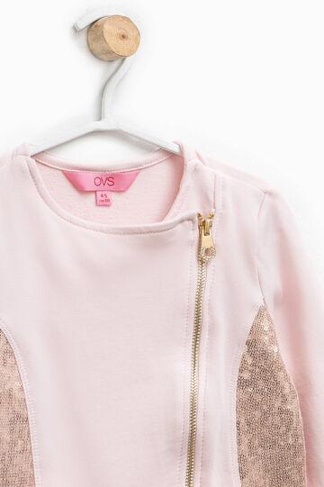 Sequinned cotton sweatshirt, Pink, hi-res