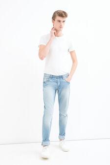 Jeans straight fit used, Lavaggio chiaro, hi-res