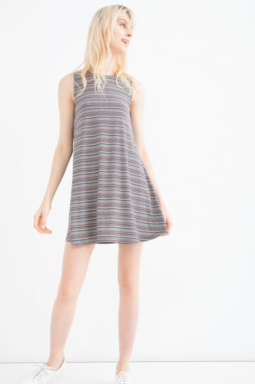 Short stretch dress with striped print., Multicolour, hi-res