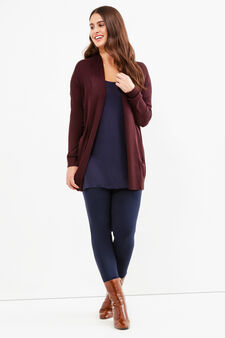 Curvy viscose blend long cardigan, Aubergine, hi-res