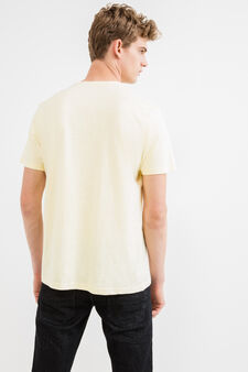 Two-pack 100% cotton round neck T-shirts, Blue/Yellow, hi-res