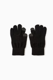 Solid colour gloves for touch screen, Black, hi-res
