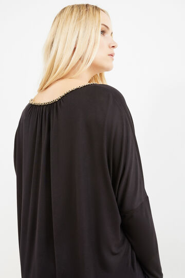 T-shirt pura viscosa con catena Curvy, Nero, hi-res