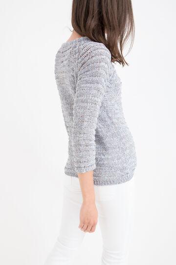 Cotton blend knit cardigan, Denim, hi-res